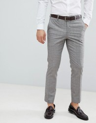 Burton Menswear wedding suit trousers in red check - Grey