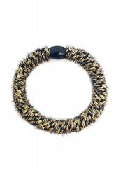 By Stær - Hårelastik - Braided Hairties - Fluffy Black/Gold