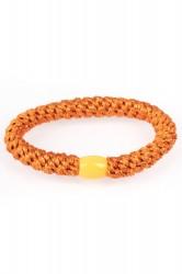 By Stær - Hårelastik - Braided Hairties - Glitter Orange Metalic