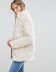 b.Young Faux Fur Jacket - Cream