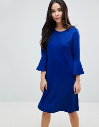 b.Young Flared Sleeve Skater Dress - Blue