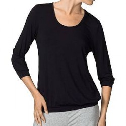 Calida Favourites ¾-Sleeve Top - Black - Large