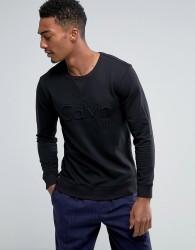 Calvin Klein Black Sweat Top with Bold Emboidered Logo - Black