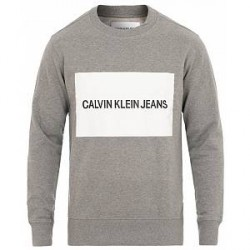 Calvin Klein Jeans Institutional Box Logo Crew Neck Sweatshirt Grey