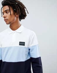 Calvin Klein Jeans long sleeve rugby polo with colourblock and logo detail - Blue