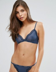 Calvin Klein Sheer Marq Lace Triangle Unlined - Blue