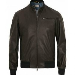 Canali Leather Jacket Black