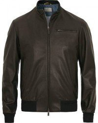 Canali Leather Jacket Black men 50 Sort