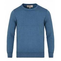 Canali Wool/Silk Garment Dyed Crew Neck Light Blue