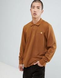 Carhartt WIP American script long sleeve polo in brown - Brown