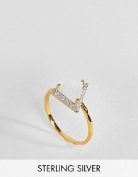 Carrie Elizabeth Diamond Triangle Moonstone Ring - Gold