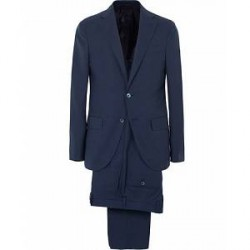 Caruso Wool Hopsack Suit Dark Blue