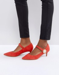Carvela Argonite Red Suede Kitten Heels With Pearl Detail - Red