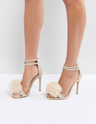 Carvela Glenn Gold Faux Fur Pom Heeled Sandals - Beige
