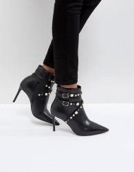 Carvela Granite Pearl Buckle Leather Heeled Ankle Boots - Black