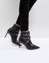 Carvela Granite Pearl Buckle Leather Heeled Ankle Boots - Black