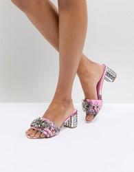Carvela Kaskade Embellished Floral Heeled Mules - Pink