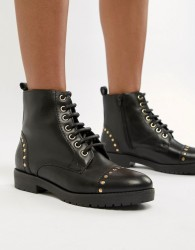 Carvela Leather Flat Hiker Boots - Black