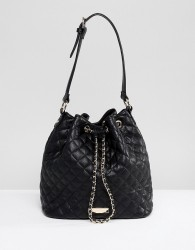 Carvela Quilted Across Body Bucket Bag - Black