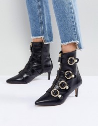 Carvela Sparky Pearl Detail Leather Kitten Heel Ankle Boots - Black