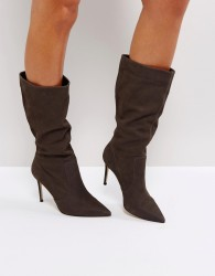 Carvela Special Grey Suede Slouch Heeled Ankle Boots - Grey