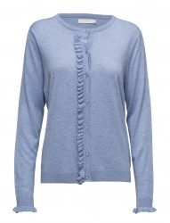 Cashmere Knit Cardigan W. Ruffle Front Placket