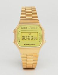 Casio A168W Digital Bracelet Watch In Gold Mirror - Gold