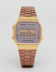 Casio A168W Digital Bracelet Watch In Rose Gold Mirror - Gold