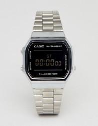 Casio A168W Digital Bracelet Watch In Silver/Black Mirror - Silver