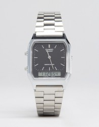 Casio Analogue & Digital Square Watch In Silver AQ230A-1DS - Silver