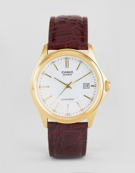 Casio Analogue Leather Watch In Brown MTP1183Q-7A - Brown