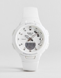 Casio Baby G step tracker silicone watch in white - White