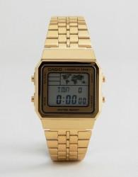 Casio Digital Map Watch In Gold A500WGA-1DF - Gold