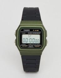 Casio F-91WM-3AEF Digital Silicone Watch In Black/Green - Black