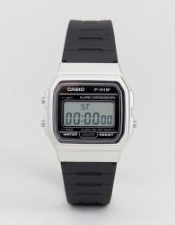 Casio F91WM-7A digital silicone strap watch in black/silver - Black