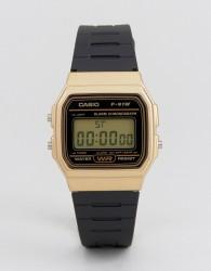 Casio F91WM-9A digital silicone strap watch in black/gold - Black