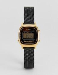 Casio LA670 Digital Mesh Watch In Black - Black
