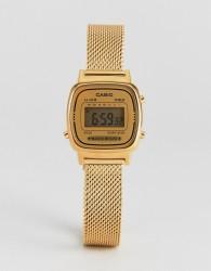 Casio LA670 Digital Mesh Watch In Gold - Gold