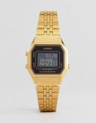 Casio LA680WEGA-1BER Mini Digital Black Face Watch - Gold