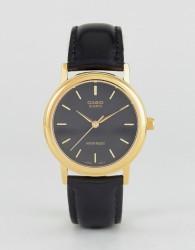 Casio MTP1095Q-1A gold detail black leather strap watch - Black