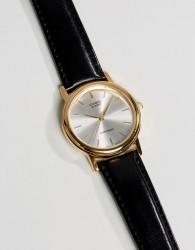 Casio MTP1095Q-7A leather strap watch in black - Black