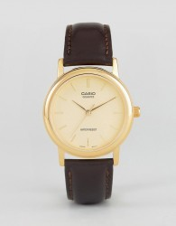 Casio MTP1095Q-9A leather strap watch in brown - Brown