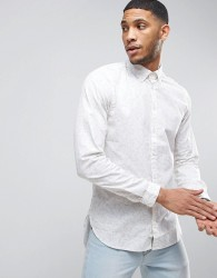 Casual Friday Button Down Collar Shirt In All Over Print - White