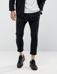 Casual Friday Cropped Drop Crotch Trousers In Black - Black