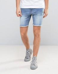 Casual Friday Denim Shorts With Raw Hem - Blue