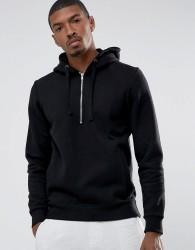 Casual Friday Hoodie With Half Zip - Black