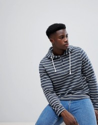 Casual Friday Overhead Hoodie With Buttons In Stripe - Navy