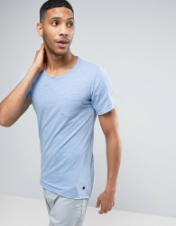 Casual Friday Pocket T-Shirt With Curved Hem And Raw Edges - Blue