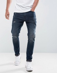 Casual Friday Regular Fit Jeans With Distressing In Dark Blue Wash - Blue