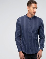Casual Friday Shirt In Pinstripe With Grandad Collar In Regular Fit - Navy